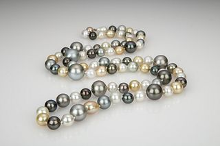 Fine White, Gold, and Grey Tahitian South Sea Pearl Multi-Color Cocktail Necklace with 18K White Gold Clasp