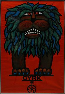 "Hubert Hilscher ""Cryk"" The Lion Poster, Mid-Century"