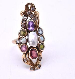 14 Karat American Art Nouveau Ring with Diamonds and Semi Precious Stones, c1900