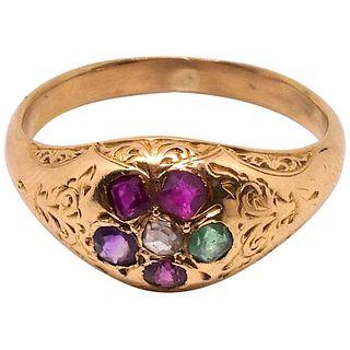 Antique 15 Karat Gold Victorian Forget-Me-Not Regard Ring, c1880