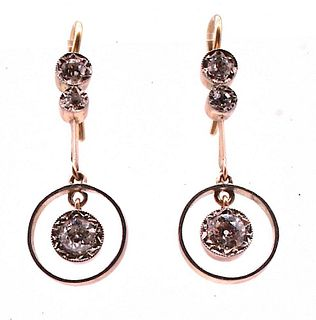 Antique 3 Diamond White & Yellow Gold Circle Drop Earrings w Millegrain C1900