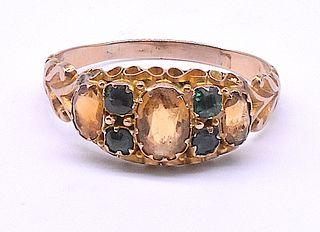 Antique Citrine and Emerald Ring, circa 1860