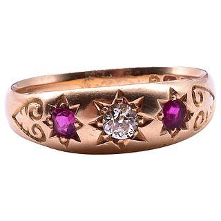 Hallmarked B'ham 1898 Ruby and Diamond 18 Carat Star-Set 3 Stone Gypsy Ring