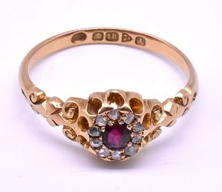 Antique HM Chester 1901 Ruby Diamond Cluster Ring