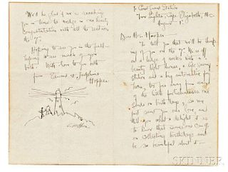 Edward Hopper (American, 1882-1967)      Letter with a Sketch of an Artist at Work by a Lighthouse
