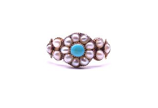 Antique Natural Pearl and Turquoise Cluster Ring, c1830