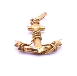 18K Victorian Anchor Pendant, c1850