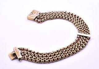 Victorian 9 Karat Four Strand Belcher Chain Bracelet with Fancy Engraved Clasp, c1890
