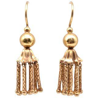 Victorian 18 Karat Gold Tassel Drop Earrings, c1880