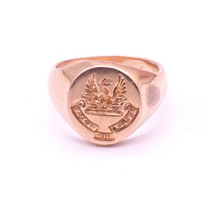 "Victorian Signet Ring with Image of Phoenix, ""Perit Ut Vivat"", circa 1890"