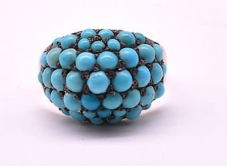 Antique Victorian Pave Turquoise Bombe Ring, c1890