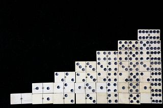 Complete Set of French Exhibition Bone and Ebony Dominoes, 19th c.