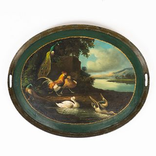 English hand painted standing rim oval tole tea tray (1790)