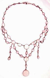 Antique c1910 Moonstone Silver Necklace