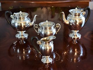 Elegant Antique French Silver Coffee and Tea Selfish Set by Emile Puiforcat