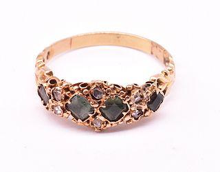 15 Karat Rose Diamond and Peridot Ring, C. 1860