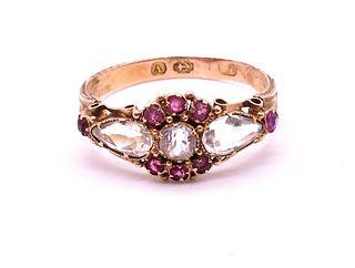 Antique 15 Karat Aquamarine Ruby Ring HM Birmingham, 1870