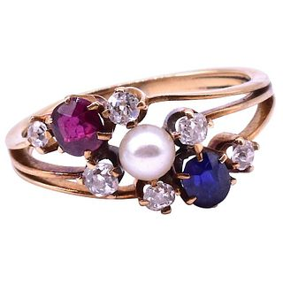 Antique Diamond Sapphire, Ruby and Pearl Triple Band Ring, Circa 1910