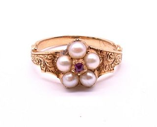 Antique Pearl Forget Me Not Ring with Ruby Center, circa 1860