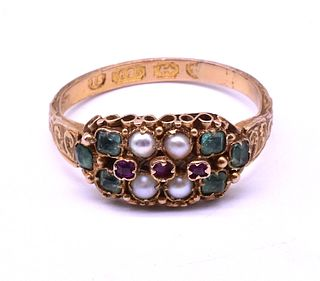 HM 1869 Multi-Stone Ruby Emerald and Pearl Ring In Suffraget Colors
