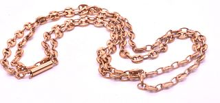 """Victorian C.1890 9ct Victorian Anchor Link Sailor Chain 24"""" Long"""