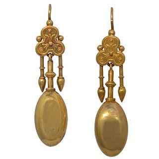 Antique Gold Etruscan Motif Earrings, c1880
