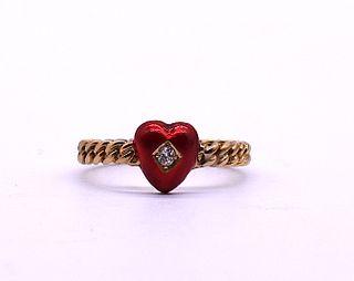 Antique Twisted Shank Enamel and Diamond Heart, circa 1900