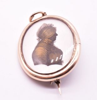 Antique Miers & Field Painted Silhouette Miniature Portrait of an Unknown Lady, c1790