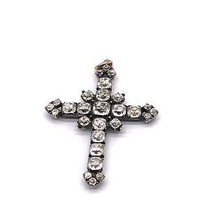Antique Sterling Silver Paste Cross Pendant, circa 1780