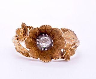 18 Karat Georgian Flower and Rose Diamond Ring, circa 1830