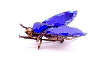 Antique Bristol Blue Vauxhall Glass Bug, Circa 1860