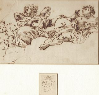 Stunning Cupids, Sepia Ink on Paper by Giovanni Battista Gaulli