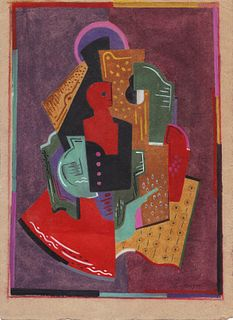 Cubist Abstract Figure, Gouache on paper by Albert Gleizes