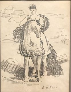 Mythical Horse and Rider, graphite on paper by Georgio De Chirico