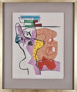 """Le Corbusier: """"Le Poème de L'Angle Droit"""". Original lithograph 1955. Framed."""
