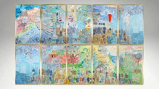 """Raoul Dufy: """"La Fée Electricité"""". Complete Lithographic Panorama."""