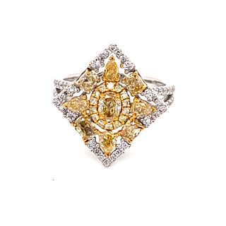 14K Rare Natural Fancy Colored Diamond Ring