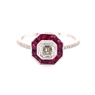 14K Diamond And Ruby Target Ring