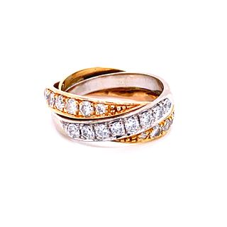 18K Three Color Gold And Diamond Ring