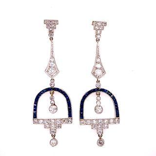 Platinum Diamond Sapphire Chandelier Earrings Ê