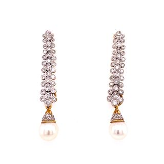 14K Diamond & Pearl Drop Earrings
