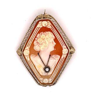 1930' 14K Woman Face Cameo Diamond Broach Pendant