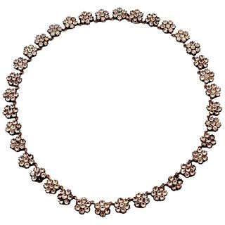 Antique Paste Silver Cluster Necklace, Circa 1860