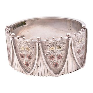 Silver Cuff Bracelet with 2 Color Gold Accents, Crica 1890