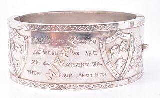 "Sterling Inscribed Biblical ""Mizpah"" Bangle, circa 1880"