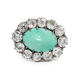 ANTIQUE, TURQUOISE AND DIAMOND BROOCH