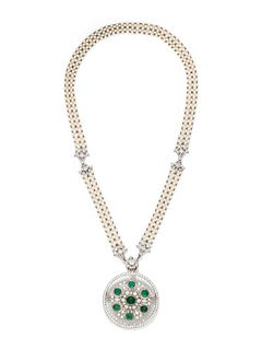 EDWARDIAN, EMERALD, DIAMOND AND SEED PEARL CONVERTIBLE PENDANT/NECKLACE