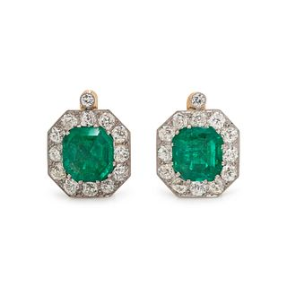ANTIQUE, EMERALD AND DIAMOND EARCLIPS