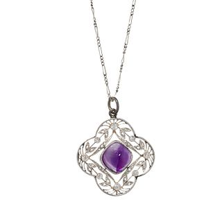 EDWARDIAN, AMETHYST AND DIAMOND PENDANT/NECKLACE