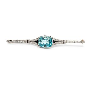 ART DECO, AQUAMARINE, DIAMOND AND ONYX BROOCH